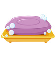 Bar of soap on the tray vector image