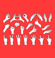 big collection cartoon hand shape like gesture vector image vector image