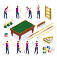 billiards isometric icons collection vector image