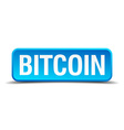 bitcoin blue 3d realistic square isolated button vector image vector image