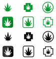 Black and green cbd and hemp logo icon