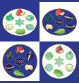 blue passover plates with food vector image vector image