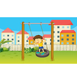 Boy playing swing vector image