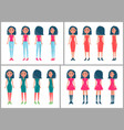 brunette women stylish outfits from all sides set vector image vector image