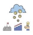 Business success money cloud icons set vector image