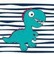 cartoon dinosaur on striped background vector image
