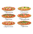 cartoon pizza set vector image