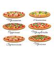 cartoon pizza set vector image vector image