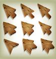 cartoon wood icons cursor and arrows vector image vector image