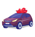 cherry color car on white background business vector image vector image