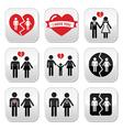 Couple breakup divorce buttons set vector image vector image