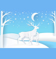deer and fawn in snowy forest at night vector image vector image