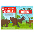 deer elk and grizzly bear animals hunting sport vector image vector image