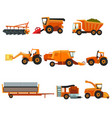 flat set of agricultural transports rural vector image