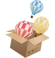 Flying object in carton box-03 vector image vector image