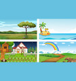 four different nature horizontal scene vector image vector image