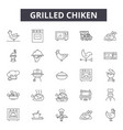 grilled chiken line icons signs set vector image