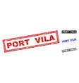 grunge port vila textured rectangle stamps vector image vector image