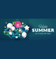 hello summer design template with palm leaves vector image vector image