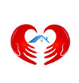 house with caring and supportive hand logo vector image vector image