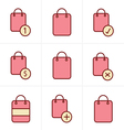 Icons Style Shopping bag icons on white background vector image