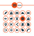 interface icons set collection of storage social vector image vector image