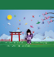 japanese girls wearing national dress happily and vector image