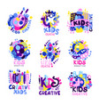 Kid creative set of colorful logo graphic