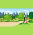 landscape city public summer park scene wooden vector image vector image