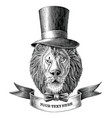 lion man logo with banner hand draw vintage vector image vector image