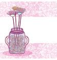 mason jar flowers pot card vector image vector image