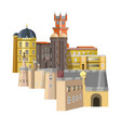 medieval buildings with unusual structure and rich vector image