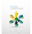 Merry Chrismas snowflake decorated with balls vector image