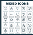 nature icons set collection of cobweb bear vector image vector image