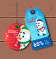 new year sale tags with snowman on wooden textured vector image