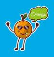 orange with sunglasses fruit kawaii cheerful vector image