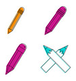 pen icon set color outline style vector image vector image