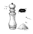 pepper and salt mill drawing seasoning and vector image