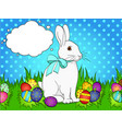 pop art easter bunny on green grass easter eggs vector image