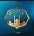 ramadan kareem greeting card golden mosque vector image vector image