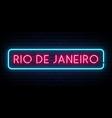 rio de janeiro neon sign bright light signboard vector image vector image