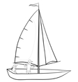 sailing boat with a people contours vector image