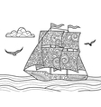Sailing ship coloring book for adults vector image vector image