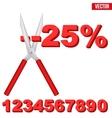 Sale word cut large scissors vector image