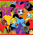 seamless pattern with kawaii sport items cute vector image vector image