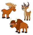 set of isolated with elk deer bison vector image vector image