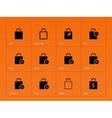 Shopping bag icons on orange background vector image
