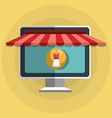 shopping online with computer vector image vector image