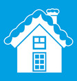 small snowy cottage icon white vector image vector image
