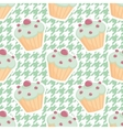 Tile cupcake pattern on mint green houndstooth vector image vector image